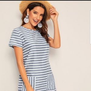 Dresses & Skirts - Gray and White Striped Dress w/Pockets